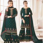 Green Georgette Sharara Dress