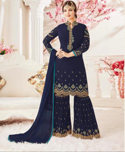 Navy Blue Georgette Sharara Dress